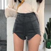 短褲夏季時尚女裝復古高腰彈力提臀熱褲側拉鏈顯瘦不規則牛仔褲短褲潮【萬聖夜來臨】