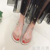 涼鞋女夏平底韓版學生chic百搭水鉆夾腳涼鞋  至簡元素