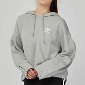 Adidas Originals 女款 灰色 短版 三葉草 連帽 長袖 上衣 DX1151