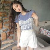 夏季韓版女裝新款蕾絲拼接假兩件上衣圓領短袖針織針織衫百搭T恤QM 莉卡嚴選