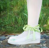 漢服棉鞋 漢服棉鞋 古風改良漢服鞋子女百搭配古學生白色帆布鞋平底坡跟綁繫帶cos   瑪麗蘇