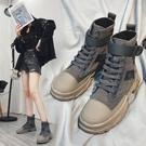 馬丁靴女英倫風女鞋子新款秋冬百搭平底短靴...