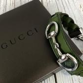BRAND楓月 GUCCI 古馳 綠色 皮革 馬銜 造型 編織 手環 飾品 配件