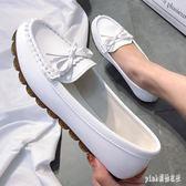 大碼豆豆鞋 女2019春季新款平底單鞋牛筋軟底懶人一腳蹬媽媽白色護士鞋 js24093『Pink領袖衣社』