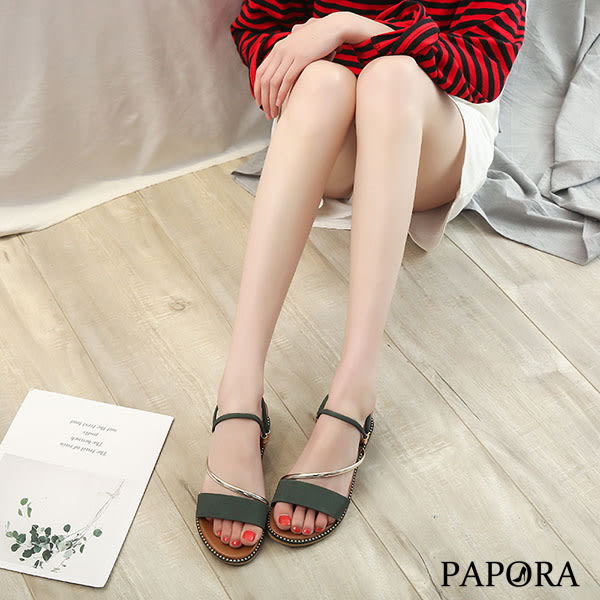 PAPORA性感Z型低跟拖鞋KE1469黑/米/綠