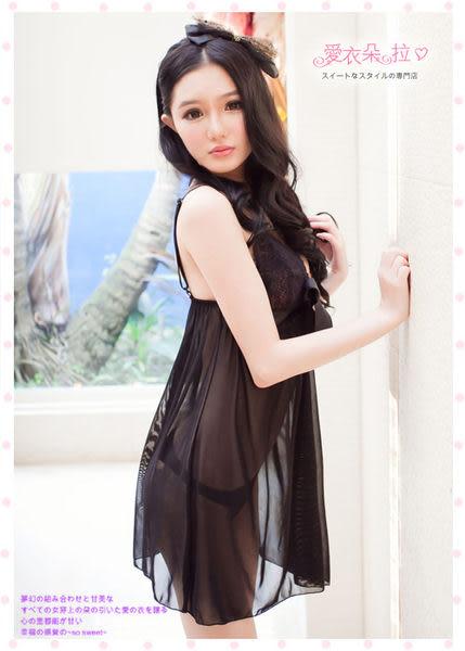 性感睡衣 XXL 中大尺碼睡衣 黑色蕾絲若隱若現洋裝情趣內衣- 愛衣朵拉