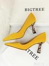 高跟鞋 仙女鞋小高跟女秋冬新款蛇紋中馬蹄跟粗跟黃色尖頭大碼單鞋冬 韓菲兒