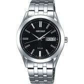 SEIKO 精工 SPIRIT 太陽能時尚手錶-黑x銀/38mm V158-0AZ0D(SBPX083J)