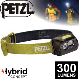 【Petzl 法國 ACTIK頭燈《300流明/綠》】E99AAB/頭燈/防潑水/緊急照明燈/登山露營/救難/手電筒★滿額送