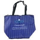 小禮堂 大耳狗 折疊尼龍環保購物袋 保冷環保袋 保冷提袋 野餐袋 (藍 條紋) 4990270-12995