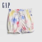 Gap嬰兒 甜美印花純棉鬆緊短褲 669595-彩色紮染