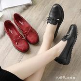 媽媽鞋單鞋中老年女鞋舒適軟底平底夏季中年老人皮鞋紅色 【快速出貨】