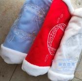 暖手筒 原創漢服女配飾紅藍白三色手捂繡花加絨保暖冬季暖手手抄手筒抱枕 麻吉部落