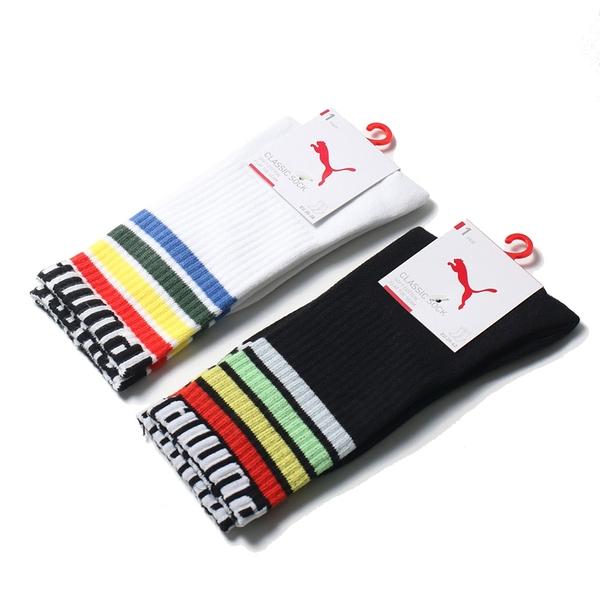 PUMA 長襪 運動襪 FASHION 兩色 彩紅 條紋 英文LOGO 男女 (布魯克林) BB1298-
