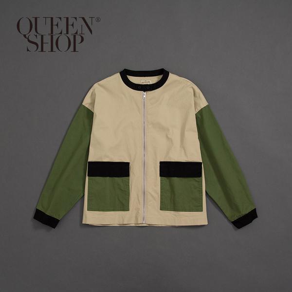 Queen Shop【02071139】中山領撞色拼接外套 1/2*現+預*