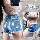克妹Ke-Mei【AT70252】秋冬歐美時尚破破辣辣高腰彈力牛仔短褲