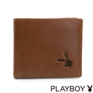 PLAYBOY- 中翻短夾 原味系列-原色棕