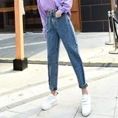 【YPRA】牛仔褲女 韓版老爹寬鬆高腰直筒水洗單寧長褲