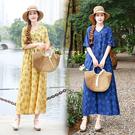 棉麻洋裝連身裙8302#棉麻短袖連身裙夏季新款韓版中長款印花裙子MA110依佳衣