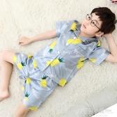 兒童睡衣冰絲男童薄款夏季家居服小孩寶寶親子短袖空調服套裝夏天 格蘭小舖