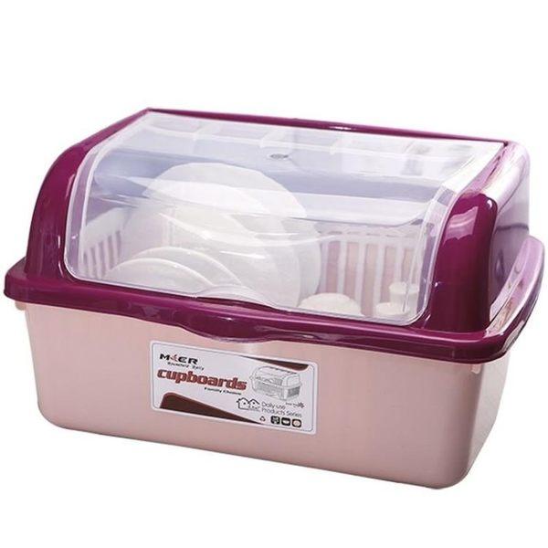 碗碟架 碗碟架碗柜放碗筷收納盒瀝水架家用廚房塑料裝儲碗箱帶蓋大號碗盆置碗架PPS