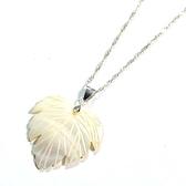 天然貝殼白珍珠貝葉子純銀項鍊