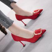 高跟鞋 小清新方扣高跟鞋紅色女 新款職業工作鞋公主百搭細跟結婚單鞋 韓菲兒