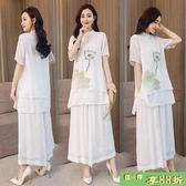 短袖上衣 半身裙中國民族風棉麻復古文藝印花套裝裙 兩件套禪意茶服