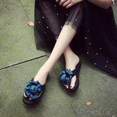 手工山茶花朵人字拖甜美拖鞋