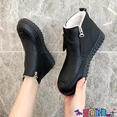 短靴 媽媽鞋加絨保暖中年短靴中老年女鞋老人平底防滑軟底皮鞋冬季棉鞋 寶貝計畫