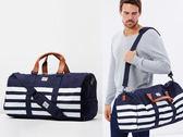 Hsin 85折 現貨 Herschel Novel 深藍 白條紋 高階款 皮革提把 可放鞋 大容量 手提 側背 行李 旅行 提袋
