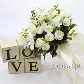 新娘手捧花 紅白仿真韓式婚禮花束