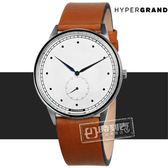 HyperGrand / CWSGSWHNY / Classic Honey 極簡工業風獨立秒針真皮手錶 白x卡其 40mm