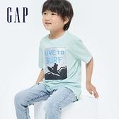Gap男童 純棉雙面亮片短袖T恤 696996-淺藍色