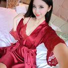性感睡衣女蕾絲吊帶睡裙睡袍兩件套夏季女短袖薄款絲綢家居服【大咖玩家】