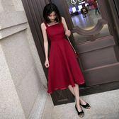 夏季無袖赫本小黑裙修身顯瘦吊帶中長款大擺連衣裙女 草莓妞妞
