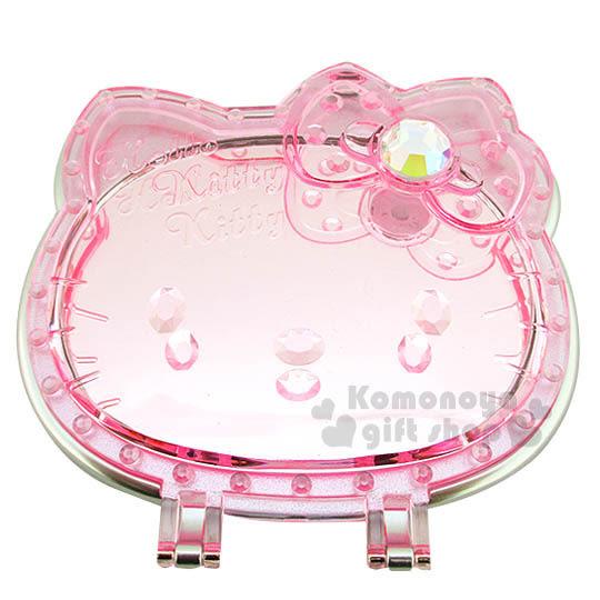 【小禮堂】Hello Kitty 造型折疊鏡《透明.粉.大臉.白寶石蝴蝶結》