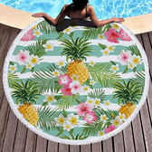 沙灘巾 水果 幾何 印花 流蘇 野餐巾 海灘巾 圓形沙灘巾 150*150【YC027】 icoca  04/03
