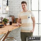 【JEEP】輕透條紋短袖TEE-米色