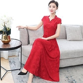 媽媽改良版旗袍日常連身裙女夏裝新款貴夫人氣質復古過膝長裙禮服 薇薇