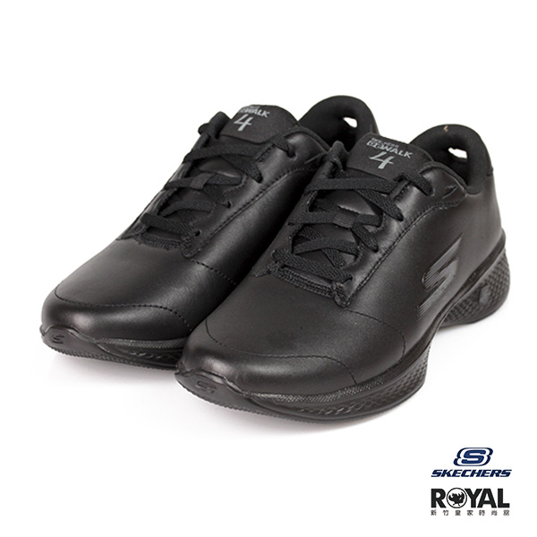 Skechers 新竹皇家 Go Walk 黑色 皮質 健走 舒適 休閒鞋 女款 NO.I9527