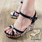 PAPORA豹紋厚底楔型涼鞋KE119黑/米(偏小)