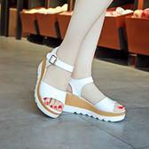 夏季新款女士厚底坡跟韓版涼鞋時尚鬆糕底中跟休閒女涼鞋子潮  蒂小屋服飾