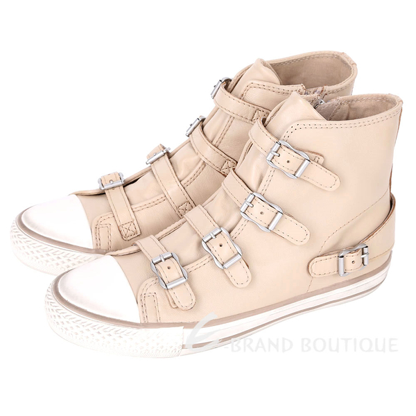 ASH VIRGIN 經典羊皮釦帶高筒休閒鞋(淺駝色) 1420026-E2