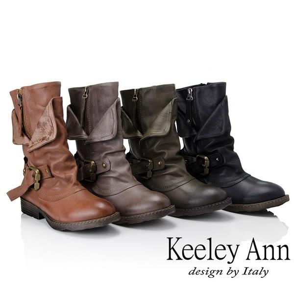 ★2018秋冬★Keeley Ann鉚釘龐克~個性環釦拉鍊層次真皮低跟中筒靴(綠色)