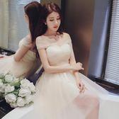 大碼伴娘團禮服新款韓版伴娘服香檳色短款婚禮年會小禮服姐妹a字裙 Mt8379『Pink領袖衣社』