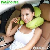 戶外旅游護頸枕天鵝絨子母枕充氣頸枕U型充氣枕飛機旅行三寶u形枕 西城故事