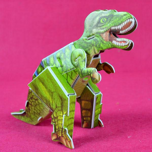 佳廷模型 親子DIY紙模型3D立體拼圖贈品獎勵品專賣店 昆蟲館動物園 袋裝恐龍3暴龍 Calebou卡樂保