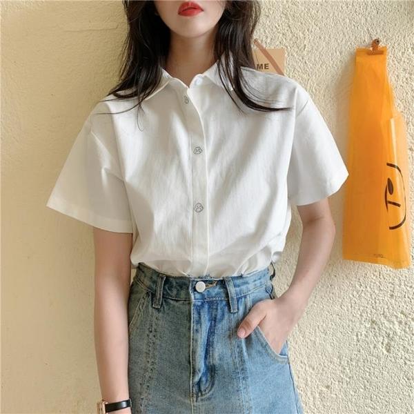 2021夏季新款設計感小眾大碼胖mm短袖白色襯衫女寬松polo純色襯衣