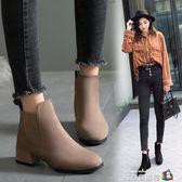 馬丁靴女秋冬季2018新款百搭復古英倫風粗跟粗跟鬆緊帶切爾西短靴 魔方數碼館